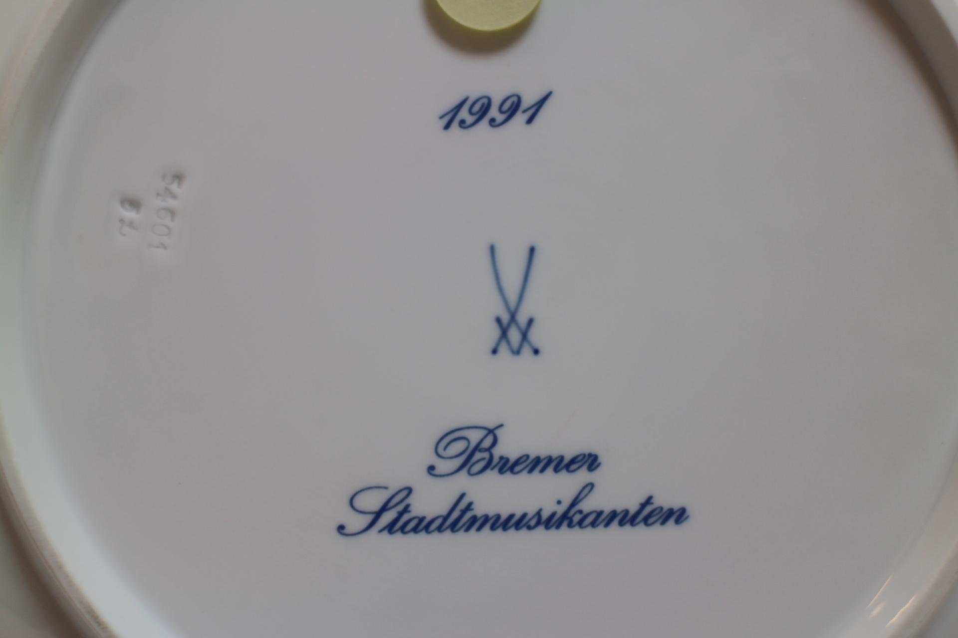 マイセンイヤープレート 1991年 ブレーメンの音楽隊4