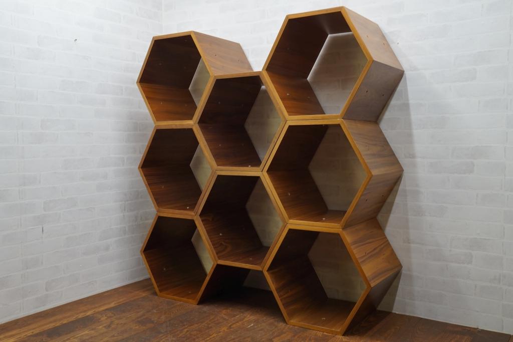 ヘキサゴン(6角形) 連結シェルフ8個